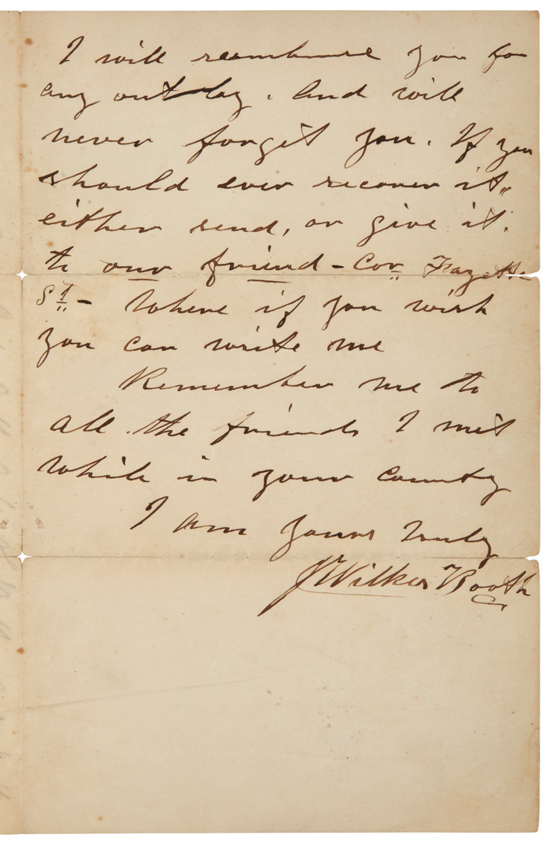 A letter by Lincoln assassin John Wilkes Booth dated November 14, 1864.
