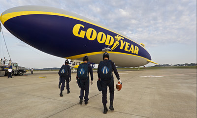 Cadets from the U.S. Air Force Wings of Blue get set to deliver the game ball for Saturday's Battle At Bristol, following the first skydive from Goodyear Blimp in 51 years (Credit: AP)
