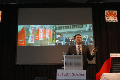 Mr. Norman Frisch introduces the latest eLTE 3.1 Broadband Trunking Solution with a real-time video transmission demonstration at CeBIT 2014. (PRNewsFoto/Huawei) (PRNewsFoto/HUAWEI)