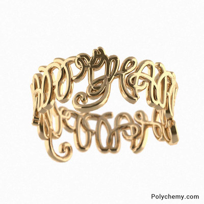 Polychemy's Cursive Name Ring In Gold. Polychemy's Cursive ring uses your name and creates an abstract cursive Design.