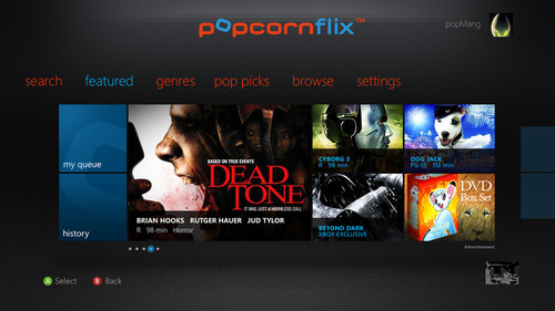 Unicorn Media, Cypress and Screen Media Ventures, LLC, Deliver Popcornflix, An Ad-Supported Free Movie App on Xbox LIVE.  (PRNewsFoto/Unicorn Media, Inc.)