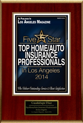 "Guadalupe Diaz Selected For ""Top Home/Auto Insurance Professionals In Los Angeles"""