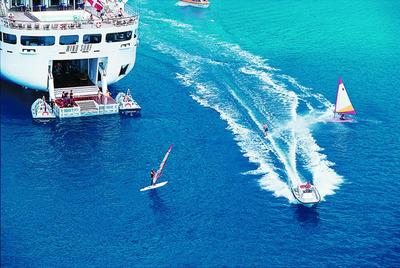 The Caribbean is the perfect place to play in the sea from Windstar's Water Sports Platform.  (PRNewsFoto/Windstar Cruises)