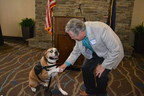"Tex, pictured here making a ""pawshake agreement"" with Utah Senate Minority Leader Gene Davis while on the campaign trail last month, will be inaugurated as Canine Mayor of Salt Lake County during a council meeting Tuesday evening, Nov. 25."