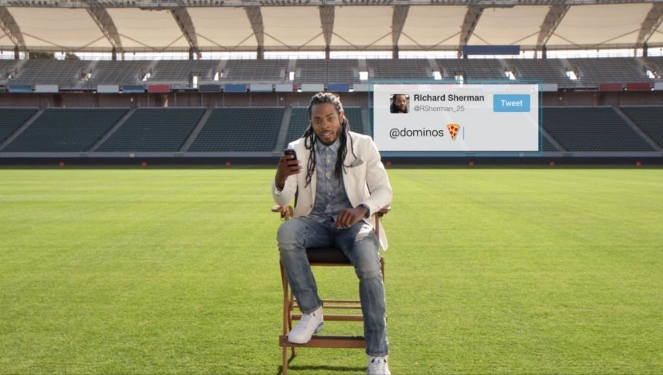 Domino's newest TV campaign, which begins today, features a number of celebrities and their favorite ways to order from Domino's, using AnyWare technology. NFL football player Richard Sherman is featured in the commercial, which showcases his love for ordering Domino's via Twitter.