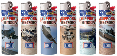 """BIC's $1M contribution the USO is a result of a $0.09 donation from the sale of each of its Special Edition(R) """"Support the Troops"""" series lighters. This series has been sold throughout the country since 2011 and is proudly manufactured in the USA at BIC's lighter manufacturing facility in Milford, Conn.  (PRNewsFoto/BIC Consumer Products USA)"""