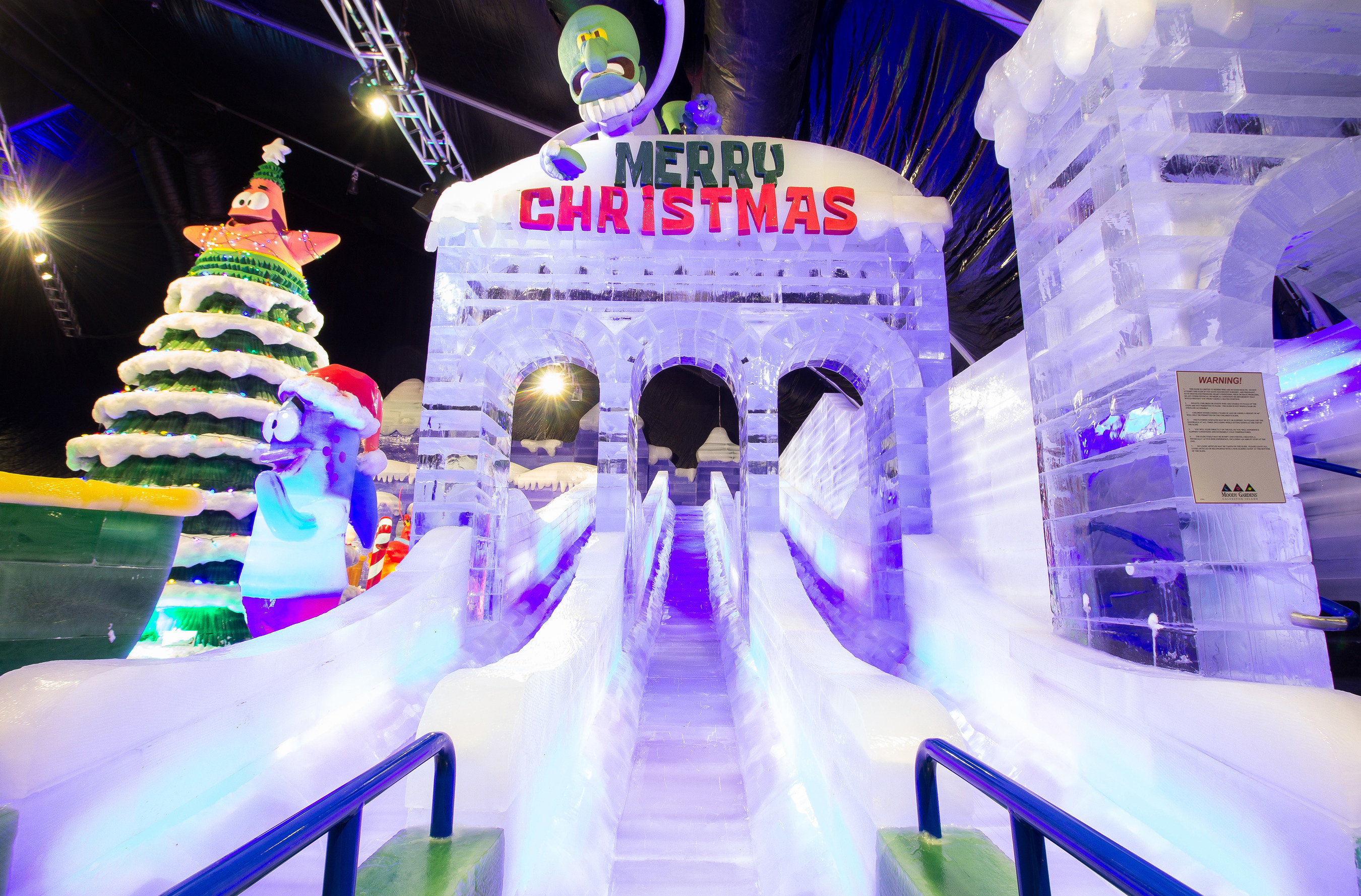 The Ice Slide Is A Crowd Favorite At Moody Gardens ICE LAND: Ice Sculptures  With