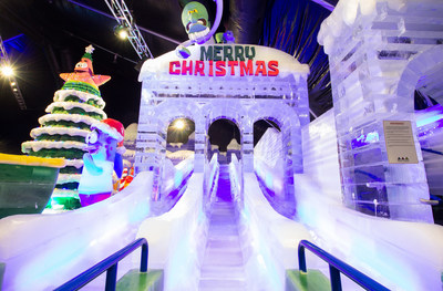 The ice slide is a crowd favorite at Moody Gardens ICE LAND: Ice Sculptures with SpongeBob SquarePants that opened Saturday in Galveston, TX