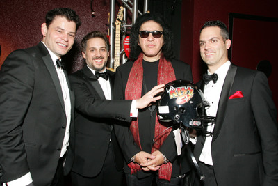 KISS founder and bassist Gene Simmons with Tongal founders, Mark Burrell, James De Julio and Rob Salvatore - Wednesday, April 2, 2014.