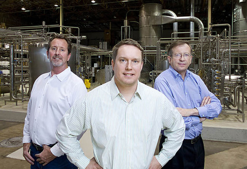 Left to right: APS BioGroup COO Les Soyland, founder and managing director Dr. Andrew Keech, and president and ...