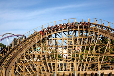 Gold Striker, the fastest and tallest wooden coaster in Northern California, is now open daily at California's Great America. Gold Striker contains the longest initial decent tunnel on any wooden coaster and has opened to raved reviews.  (PRNewsFoto/California's Great America)