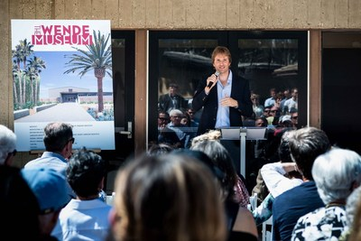 09/10/2016 Culver City, CA: Justinian Jampol addressing guests at groundbreaking ceremony Saturday September 10, 2016 announcing the start of renovations of the National Guard Armory in Culver City California to become the new home for The Wende Museum beginning fall 2017. Photo: Robert Stark