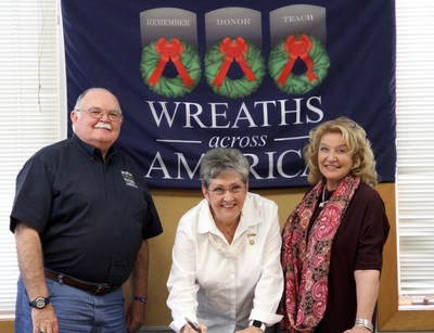 Wreaths Across America Chairman of the Board Wayne Hanson, 2016 President of American Gold Star Mothers, Inc., Candy Martin and Wreaths Across America Executive Director Karen Worcester sign a formal nationwide partnership on Oct. 20, 2016.