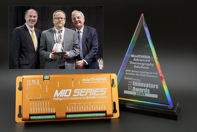Markus Tarin, President & CEO of MoviTHERM receiving the 2016 Innovators Award - Silver from Vision Systems Design Magazine at The Vision Show in Boston, MA. The award recognizes the potential impact that this product has on designers, systems integrators and end users by fulfilling a need in the market that hasn't been addressed, while leveraging a novel technology and increasing productivity.