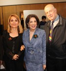 (l-r) At the Arco Iris Honors Ceremony Morayma Bak, President of the Fundacion Arco Iris, paid tribute to two remarkable individuals.  Shahin Mafi, Founder/Trusee, Azar Foundation for Children of the World and Father Jose Maria Neuenhofer, founder, Fundacion Arco Iris