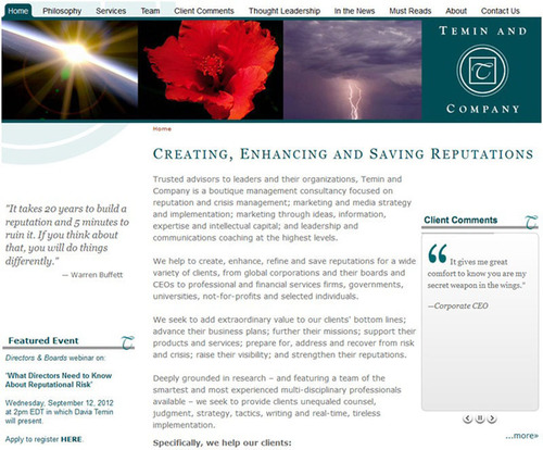Temin and Company's new website -- Creating, Enhancing and Saving Reputations.  (PRNewsFoto/Temin and ...
