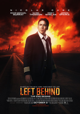 Left Behind, Nicolas Cage Apocalyptic Thriller Opens Strong this Weekend as #1 Independent Film in the Nation, Holding a 4/5 Audience Rating on Fandango (PRNewsFoto/Stoney Lake Entertainment)