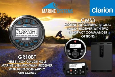 Clarion GR10BT Gauge Hole Radio with Bluetooth and CMS3 Black Box Digital Media Receiver with Two Compact Commander Options