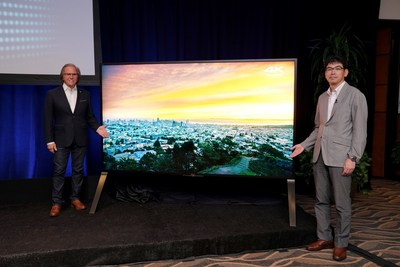 Mike Fasulo, President & COO, Sony Electronics USA and Kazuo Kii, Director & Deputy President, Sony Visual Products, stand with the new Z series TV announced today at an event at Sony Pictures Studios in Culver City, CA.