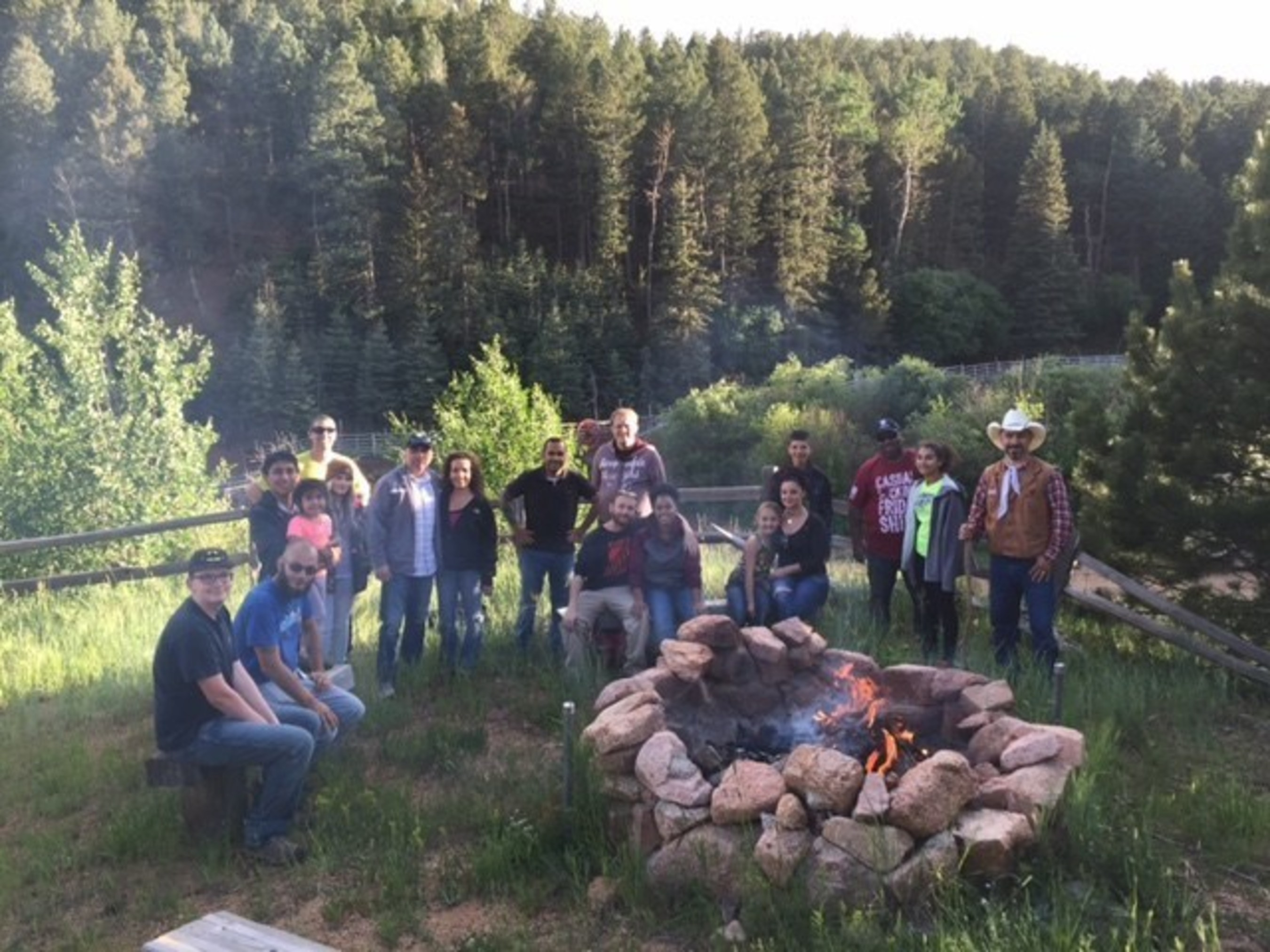 Warriors and family members enjoyed a Jeep ride through Cheyenne Mountain, which included a campfire and s'mores at a mountain ranch.