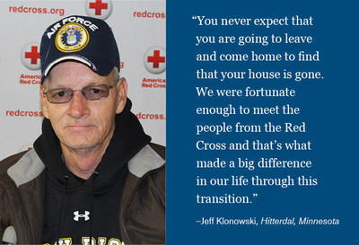 Jeff Klonowski of Hitterdal, Minn., family was helped by the American Red Cross after a fire decimated his home.