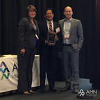 Ernie Bumatay, President of 24 Hour Medical Staffing Services, accepts the Associate Vendor Award for Largest Diverse Supplier