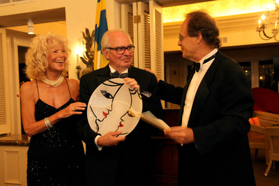 Per-Olof Loof, KEMET Corporation CEO and Consul of Sweden to the State of Florida, accepts the 2015 Swede of the Year Award from the Swedish-American Chambers of Commerce (SACC) of Florida. Presenting the award is Kirsten Williams, Founding Member and Past President of SACC of Florida and Jonas Haeger, President of SACC of Florida. The award was presented to Mr. Loof at the Annual SACC Gala Dinner on October 3rd at the Grand Bay Club in Key Biscayne.