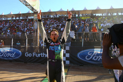 Scott Speed, driver of the NO. 77 Ford Fiesta Star Car from Rdio and OMSE, won the gold medal at X Games in Foz do Iguacu, Brazil on Sunday April 21, 2013.  (PRNewsFoto/Global Rallycross)
