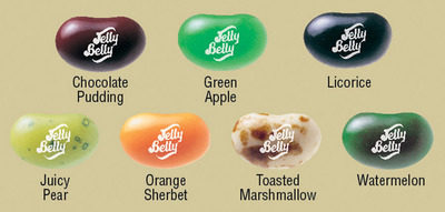 Jelly Belly Camo Beans flavors to discover are Chocolate Pudding, Green Apple, Licorice, Juicy Pear, Orange Sherbet, Toasted Marshmallow and Watermelon.  (PRNewsFoto/Jelly Belly Candy Company)