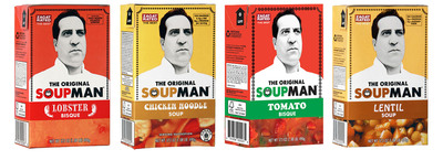 "Soup fans can now find The Original SoupMan soups, packaged in new, shelf-stable Tetra Recart cartons, in the soup aisles of more than 3,000 supermarkets nationwide, including many of the nation's largest supermarket chains.  Finally, there's ""SOUP FOR YOU!"" right in the soup aisle!.  (PRNewsFoto/SoupMan, Inc.)"