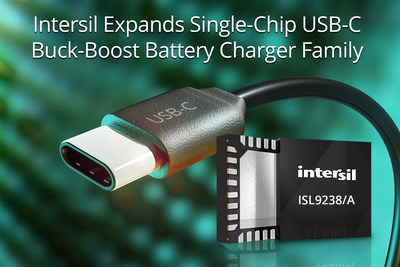 Intersil's single-chip ISL9238 and ISL9238A buck-boost battery chargers add 5V-20V reverse boost for USB On-The-Go charging of smartphones, headphones and more.