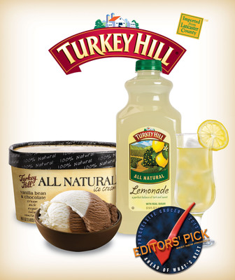 """Turkey Hill Dairy's All Natural products - All Natural Ice Cream and All Natural Lemonade - were recognized as 2013 """"Editor's Picks"""" by Progressive Grocer magazine. Made with 100 percent natural ingredients, Turkey Hill Dairy's All Natural products are deliciously simple.  (PRNewsFoto/Turkey Hill Dairy)"""