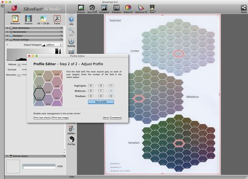 SilverFast Printer Calibration Screenshot, Editing Profiles, ICC, Color Space, Colormanagement, LaserSoft ...
