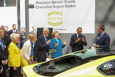 The Harting family greeting the two heads of state: Margrit Harting, Maresa Harting-Hertz, Dietmar Harting, Angela Merkel, Barack Obama, Philip Harting (from left to right) (PRNewsFoto/HARTING KGaA)