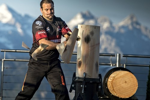 The world's top eight competitive loggers (photo shows Marcel Dupuis from Canada at the Standing Block ...