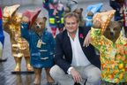 Actor Hugh Bonneville attends the launch of The Paddington Trail, in London. 50 Paddington statues will be placed across the capital including museums, parks, shops and landmarks, all with a colourful, Paddington inspired flavour.
