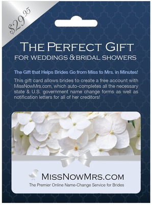 MissNowMrs.com, the leading online name change service for brides, now offers gift cards available at Rite Aid. (PRNewsFoto/MissNowMrs.com)