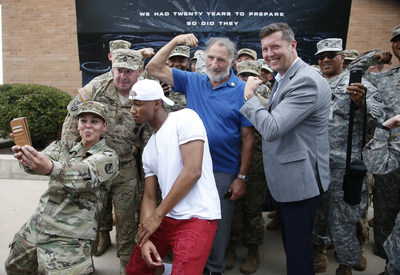 """At an advance screening of the upcoming 20th Century Fox film, """"Independence Day: Resurgence,"""" cast members Jessie Usher and Judd Hirsch join the Honorable Patrick J. Murphy, Under Secretary of the U.S. Army, to take selfies with U.S. Army Soldiers prior to the screening. The U.S. Army partnered with Fox Studios around the release of """"Independence Day: Resurgence"""" to highlight the Army's hi-tech Soldiers and capabilities."""
