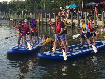 Wounded warriors recently prepared for a monster stand-up paddleboarding competition at a program gathering with Wounded Warrior Project in Middle River, Maryland.