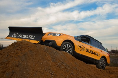 Subaru of America, Inc. breaks ground on its future home in Camden, NJ via a Subaru Outback with attached plow.