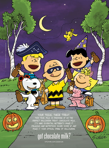 "The PEANUTS Gang Joins the National ""got milk?"" Campaign to Encourage Everyone to Make Chocolate Milk the Official Drink of Their Halloween.  (PRNewsFoto/MilkPEP)"
