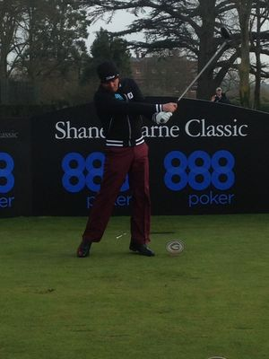 Shane Swing – Look at the follow through!  Shane Warne  hits a long drive off the first tee at the Grove Luxury Golf Resort