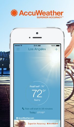 AccuWeather - Weather for Life gives users Minute by Minute(TM) forecasts for their exact street addresses. The forecasts include information about precipitation type and intensity as well as start and end times. The app, which is available in 27 languages, supports nearly 3 million locations. It allows users to customize the layout and receive severe weather alerts for U.S. locations. (PRNewsFoto/AccuWeather)