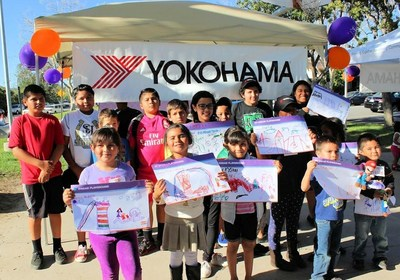Kids at Green Park in San Juan Capistrano, CA drew pictures to help design their new playground being built by Yokohama Tire and KaBOOM!