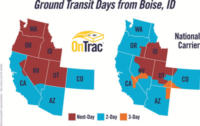 OnTrac offers faster shipping from Idaho gets to more places next day than the national carriers.  (PRNewsFoto/OnTrac)