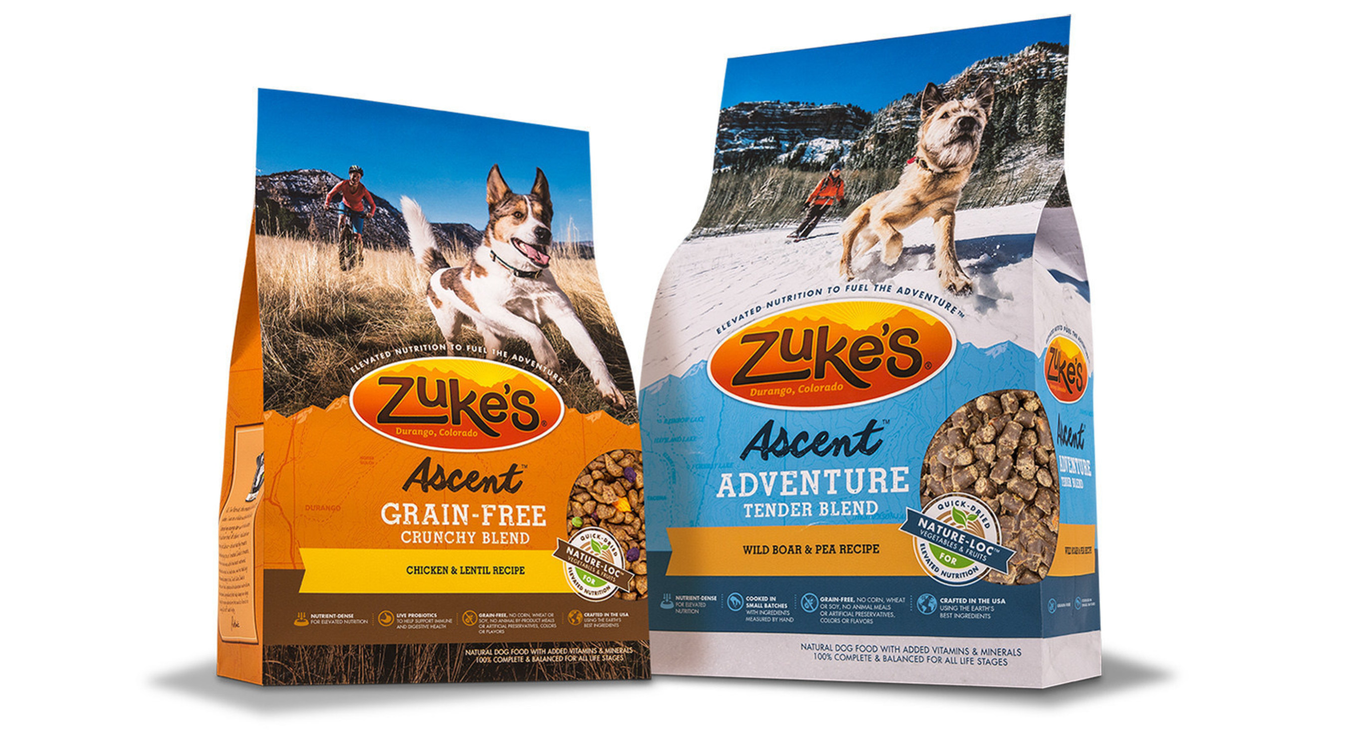 Zuke's(R) Ascent(TM) Natural Dog Food line features VELCRO(R) Brand's PRESS-LOK(R) closure on its packaging.