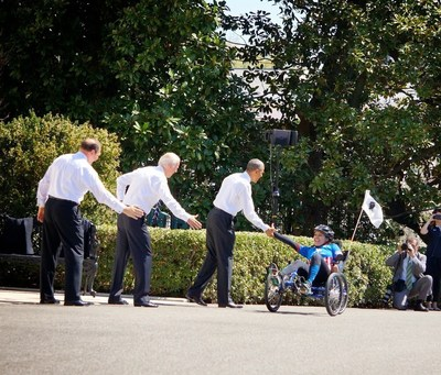 President Obama greets a wounded veteran during the 2015 Wounded Warrior Project Soldier Ride.