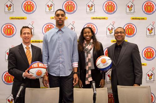 Joe Wootten, Head Basketball Coach of Bishop O'Connell in Arlington, Va., (left) and Douglas Freeland, ...