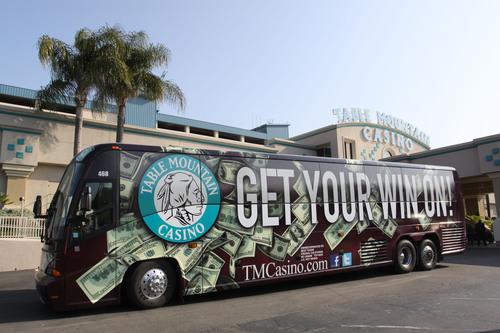 Table Mountain Casino's Award-Winning Bus Wrap--Get Your Win On! Table Mountain Casino is located in Friant, California.  (PRNewsFoto/Table Mountain Casino)