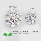 Valentine's Day World's Largest Pure Grown Diamond, Cultivated in Laboratory, 3.04 Carats Side-By Side Comparison to 1.0 Carat Diamond. Pure Grown Diamonds 30-40 Less Than Earth-Mined Diamonds.